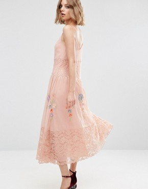 photo Maxi Slip Dress with Neon Embroidery by ASOS PREMIUM, color Pink - Image 2