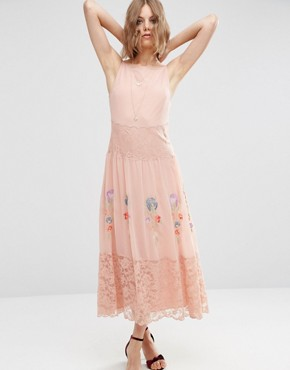 photo Maxi Slip Dress with Neon Embroidery by ASOS PREMIUM, color Pink - Image 1