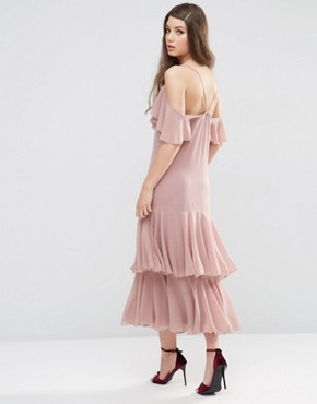 photo Maxi Dress with Frill Hem and Cold Shoulder by ASOS PREMIUM, color Pink - Image 2
