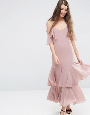 photo Maxi Dress with Frill Hem and Cold Shoulder by ASOS PREMIUM, color Pink - Image 1
