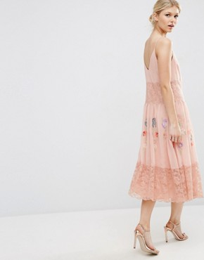 photo Maxi Slip Dress with Neon Embroidery by ASOS PETITE Premium, color Pink - Image 2