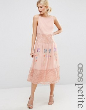 photo Maxi Slip Dress with Neon Embroidery by ASOS PETITE Premium, color Pink - Image 1