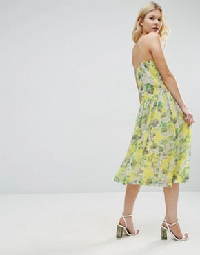 photo Pretty Floral Cami Dress with Lace Insert by ASOS PETITE Premium, color Yellow - Image 2