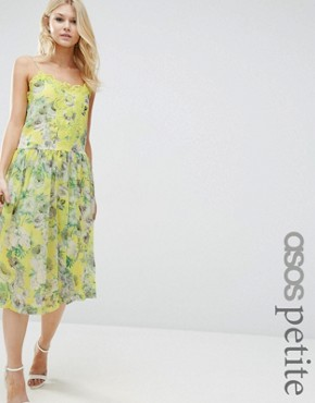 photo Pretty Floral Cami Dress with Lace Insert by ASOS PETITE Premium, color Yellow - Image 1