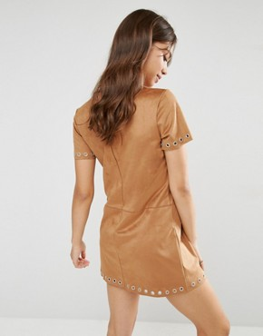 photo Faux Suede Shift Dress by Glamorous, color Tan - Image 2