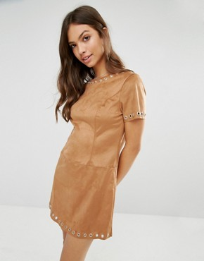 photo Faux Suede Shift Dress by Glamorous, color Tan - Image 1