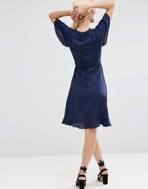 photo Midi Tea Dress With Ruffle Wrap Front by ASOS, color Navy - Image 2