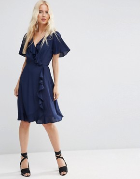 photo Midi Tea Dress With Ruffle Wrap Front by ASOS, color Navy - Image 1