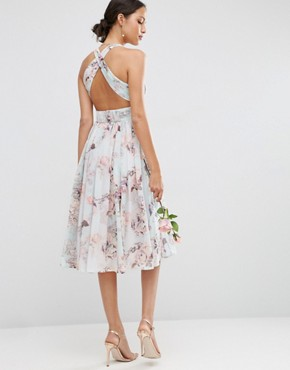 photo Hollywood Midi Dress in Soft Rose Print by ASOS WEDDING, color  - Image 2