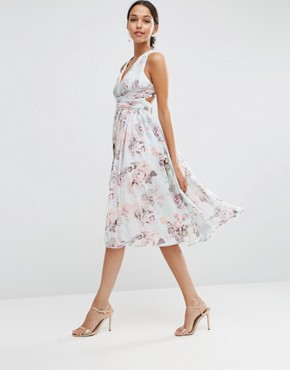 photo Hollywood Midi Dress in Soft Rose Print by ASOS WEDDING, color  - Image 1