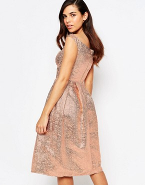 photo Razzle Metallic Bandeau Midi Prom Dress by Lashes of London, color Rose Gold - Image 2