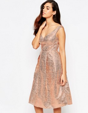 photo Razzle Metallic Bandeau Midi Prom Dress by Lashes of London, color Rose Gold - Image 1