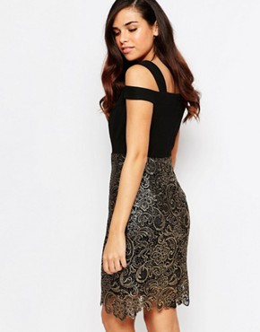 photo Evie Lace Dress by Lashes of London, color Black/Gold - Image 2