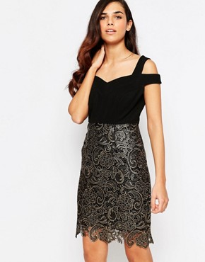 photo Evie Lace Dress by Lashes of London, color Black/Gold - Image 1