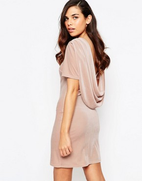 photo Ellie Velvet Cowl Back Dress by Lashes of London, color Nude - Image 1