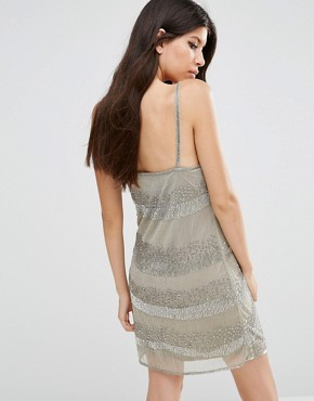 photo Tanner Waves Beaded Mini Dress by Walter Baker, color Light Grey - Image 2