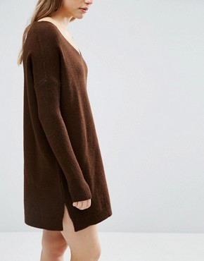 photo Jumper Dress in Soft Yarn with Deep V by ASOS, color Chocolate - Image 2