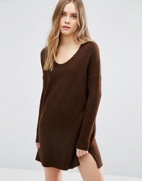 photo Jumper Dress in Soft Yarn with Deep V by ASOS, color Chocolate - Image 1