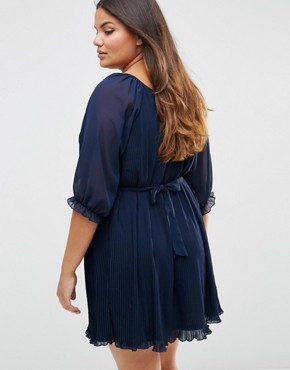 photo Pleated Dress with Tie Belt by Koko Plus, color Navy - Image 2