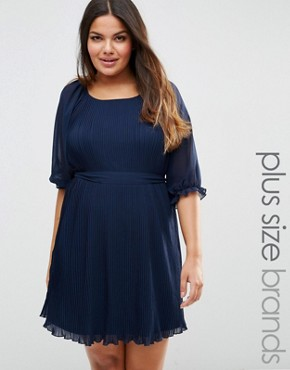 photo Pleated Dress with Tie Belt by Koko Plus, color Navy - Image 1