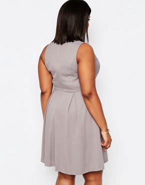 photo Skater Dress with Sweetheart Neckline by Koko Plus, color Soft Grey - Image 2