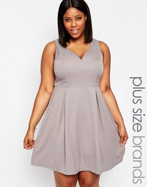 photo Skater Dress with Sweetheart Neckline by Koko Plus, color Soft Grey - Image 1