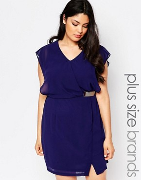 photo Wrap Dress with Buckle Deatil by Lovedrobe Plus, color Navy - Image 1