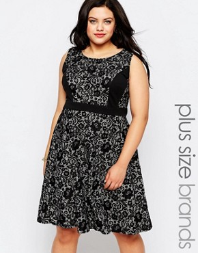photo Skater Dress In Lace by Lovedrobe Plus, color Black - Image 1