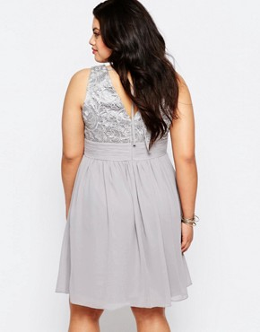 photo Skater Dress with Lace Top by Lovedrobe Plus, color Soft Grey - Image 2