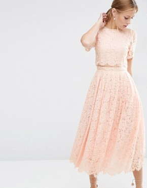 photo Lace Crop Top Midi Prom Dress by ASOS, color Nude - Image 1