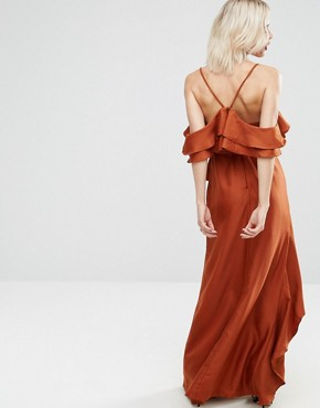 photo Cold Shoulder Ruffle Cami Maxi Dress by ASOS, color Rust - Image 2