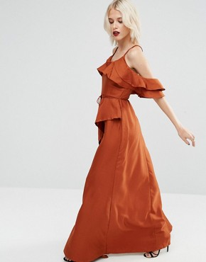 photo Cold Shoulder Ruffle Cami Maxi Dress by ASOS, color Rust - Image 1