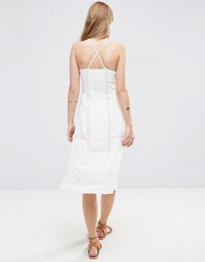 photo Embroidered Dress with Lace Inserts by ASOS PREMIUM, color Ivory - Image 2