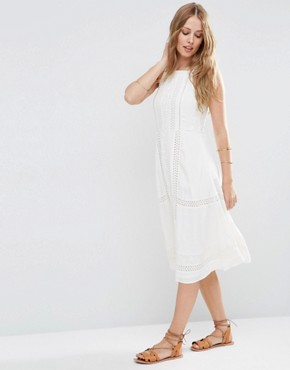 photo Embroidered Dress with Lace Inserts by ASOS PREMIUM, color Ivory - Image 1
