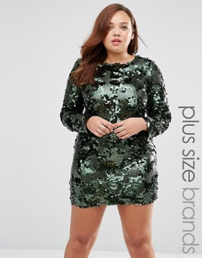 photo Sequin Dress by Live in Love Plus, color Green - Image 1