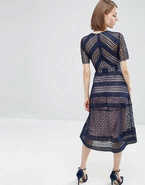 photo Occasion Lace Midi Dress by ASOS PREMIUM, color Navy - Image 2