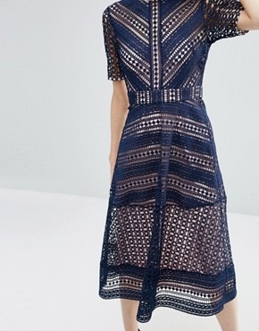 photo Occasion Lace Midi Dress by ASOS PREMIUM, color Navy - Image 3