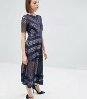 photo Occasion Lace Midi Dress by ASOS PREMIUM, color Navy - Image 4