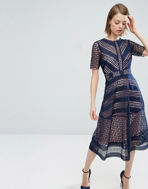 photo Occasion Lace Midi Dress by ASOS PREMIUM, color Navy - Image 1