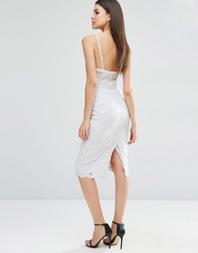 photo Sheer And Solid Lace Midi Pencil Dress by ASOS TALL, color Grey - Image 2