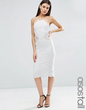 photo Sheer And Solid Lace Midi Pencil Dress by ASOS TALL, color Grey - Image 1