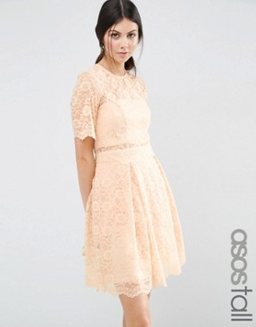 photo Lace Mini Prom Dress by ASOS TALL, color Nude - Image 1