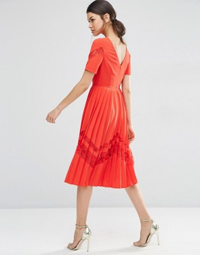 photo Premium Pleated Midi Dress with Lace Inserts by ASOS TALL, color Red - Image 2