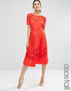photo Premium Pleated Midi Dress with Lace Inserts by ASOS TALL, color Red - Image 1