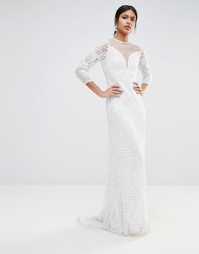 photo Embellished Sheer Insert Long Sleeve Maxi Dress by A Star Is Born, color White - Image 2