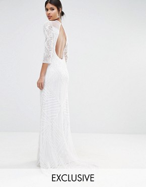 photo Embellished Sheer Insert Long Sleeve Maxi Dress by A Star Is Born, color White - Image 1
