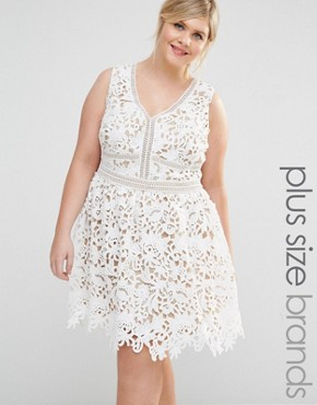 photo Cutwork Lace Skater Dress by New Look Plus, color Off White - Image 1
