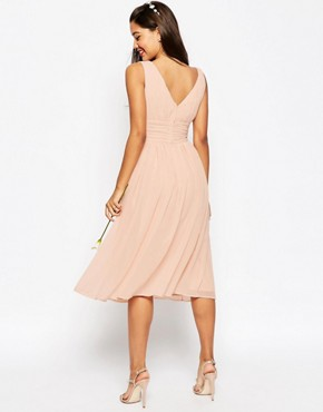 photo Ruched Panel Midi Dress by ASOS TALL WEDDING, color Nude - Image 2