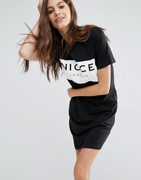 photo T-Shirt Dress with Opaque Box Logo by Nicce London, color Black - Image 1