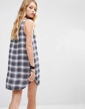photo Tunic Dress In Check Print by Lira, color Black - Image 2